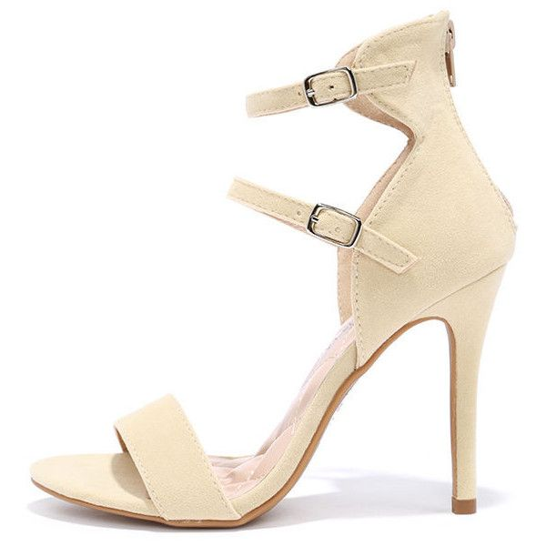 Change in Altitude Nude Suede Dress Sandals ($35) ❤ liked on Polyvore featuring shoes, sandals, beige, strappy sandals, beige sandals, toe-strap sandals, suede sandals and high heels stilettos