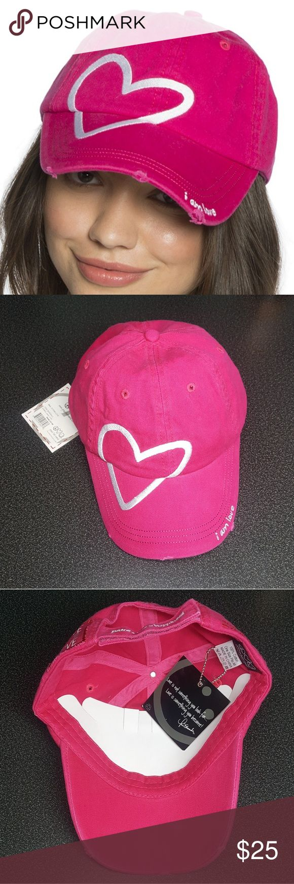 Peace Love World, Pink Baseball cap W/ Gift I AM LOVE PINK LOVE2LOVE BASEBALL CAP Brand new never been used, still has original tag. Small tears on the front of the cap come with original purchase. That is how the cap was made.  GIFT: 3 Bracelets PLW or 1 PLW sticker of your choice!  SKU: 37PK-L or 37-PINK-LOVE Peace Love World Accessories Hats