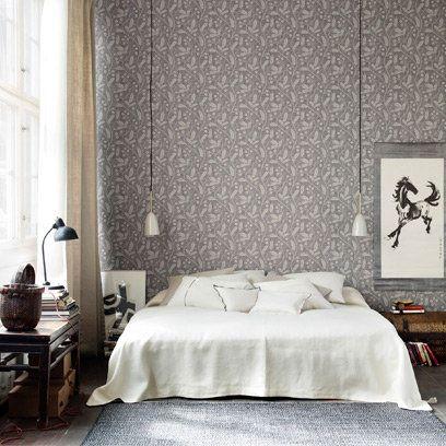 Grey floral bedroom wallpaper pendant lights white bedlinen