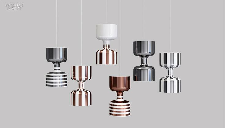 Chapiteau by Ekaterina Elizarova. These fanciful striped fixtures inspired by circus tents and aerialists boast lustrous coatings containing particles of gold, platinum, and copper.