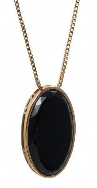 cai Halskette 925 Silber Collier rose vergoldet Anhänger oval Onyx schwarz Stein