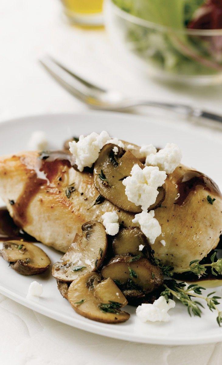 Balsamic Mushroom Chicken with Honey Goat Cheese. See recipe here ...