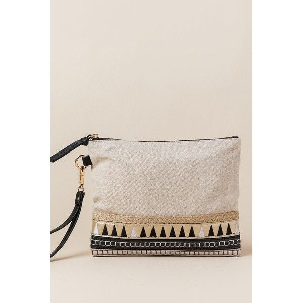 Amanda Metallic Tribal Clutch - Natural ($15) ❤ liked on Polyvore featuring bags, handbags, clutches, natural, metallic clutches, wristlet purse, metallic purse, pink purse and tribal print purse