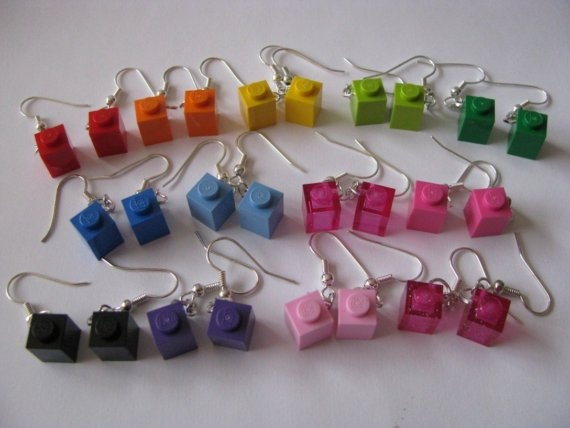 Lego 1x1 Earrings Choose Any One Color by cutebricks on Etsy, $6.00