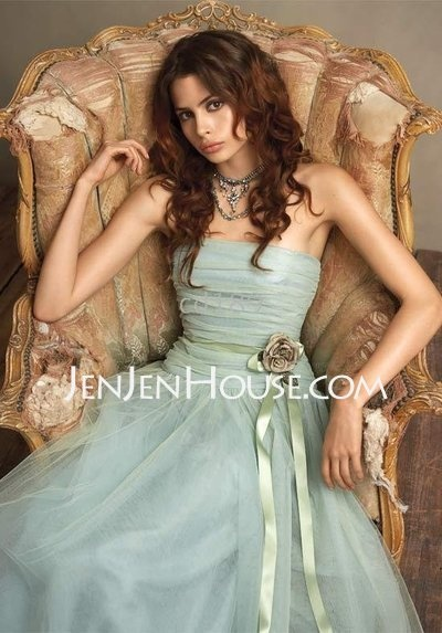 I just love how the material looks. Available in red, orange, daffodil.    http://jenjenhouse.com/A-line-Princess-Strapless-Floor-length-Satin--Tulle-Bridesmaid-Dresses-With-Ruffle--Sash-007004130-g4130Wedding Dressses, Colors, Floors Length, Tulle, Strapless Organza, The Dresses, Blue Bridesmaid Dresses, Bridesmaid Gowns, Flower