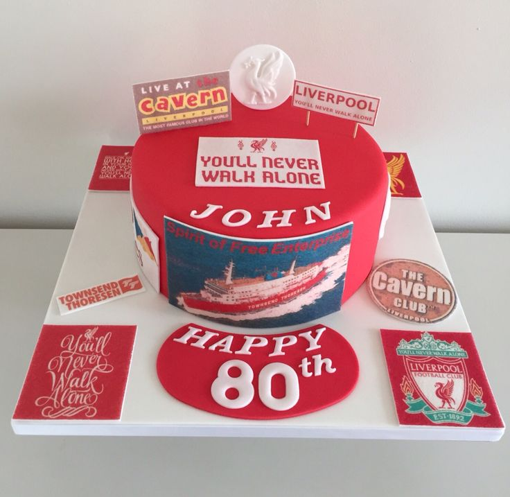 Liverpool-themed 80th birthday cake - Liver birds, the Cavern Club and port life on the ferries x
