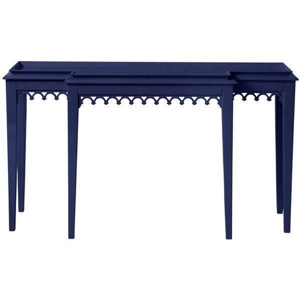 Newport Tiered Lacquer Console Table Navy Blue ($3,700) ❤ Liked On Polyvore  Featuring Home. Contemporary ...
