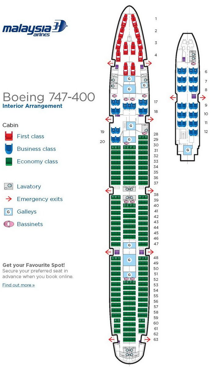 Malaysia Airlines Boeing 747 400 Aircraft Seating Chart Malaysia Airlines Airlines Aircraft