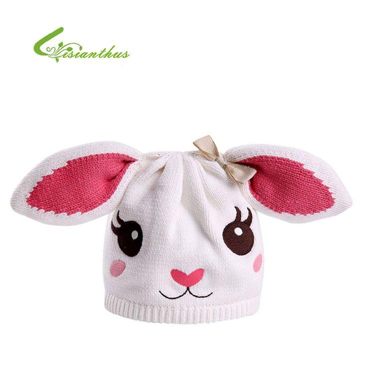 Anak Skullies Beanies bayi perempuan lucu kelinci topi, Anak-anak kapas rajutan topi, Musim gugur musim semi hewan topi kelinci penurunan, Pengiriman baru