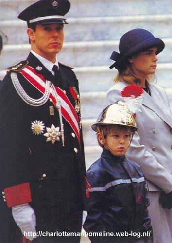Prince Albert, Princess Stephanie with Princess Caroline's son, Andrea