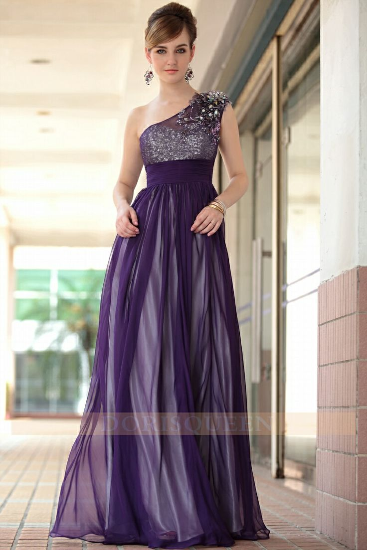 Dark Purple One Strap Bridesmaid Dresses – fashion dresses