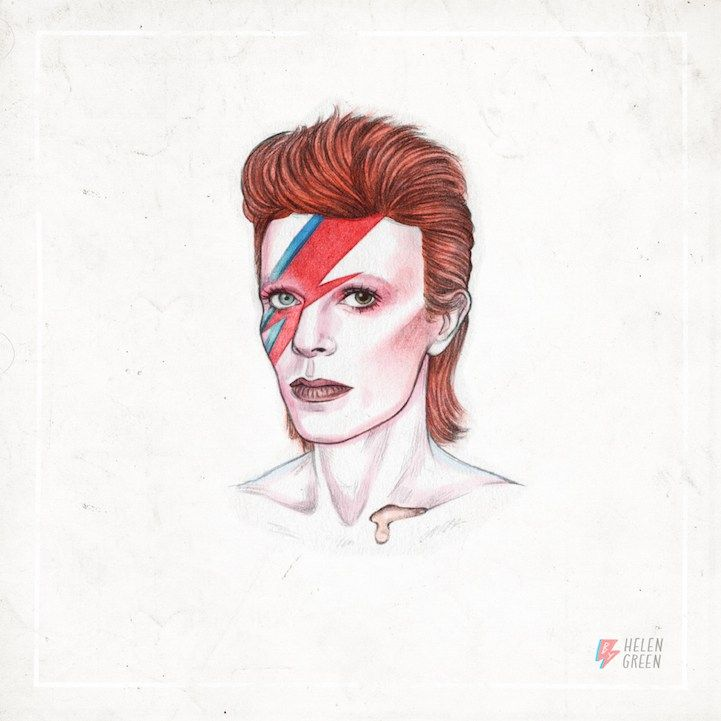 Cabelo de David Bowie, animação feita pela ilustradora Helen Green - Bowie's hair style. GIF e ilustração - Rock and Roll...