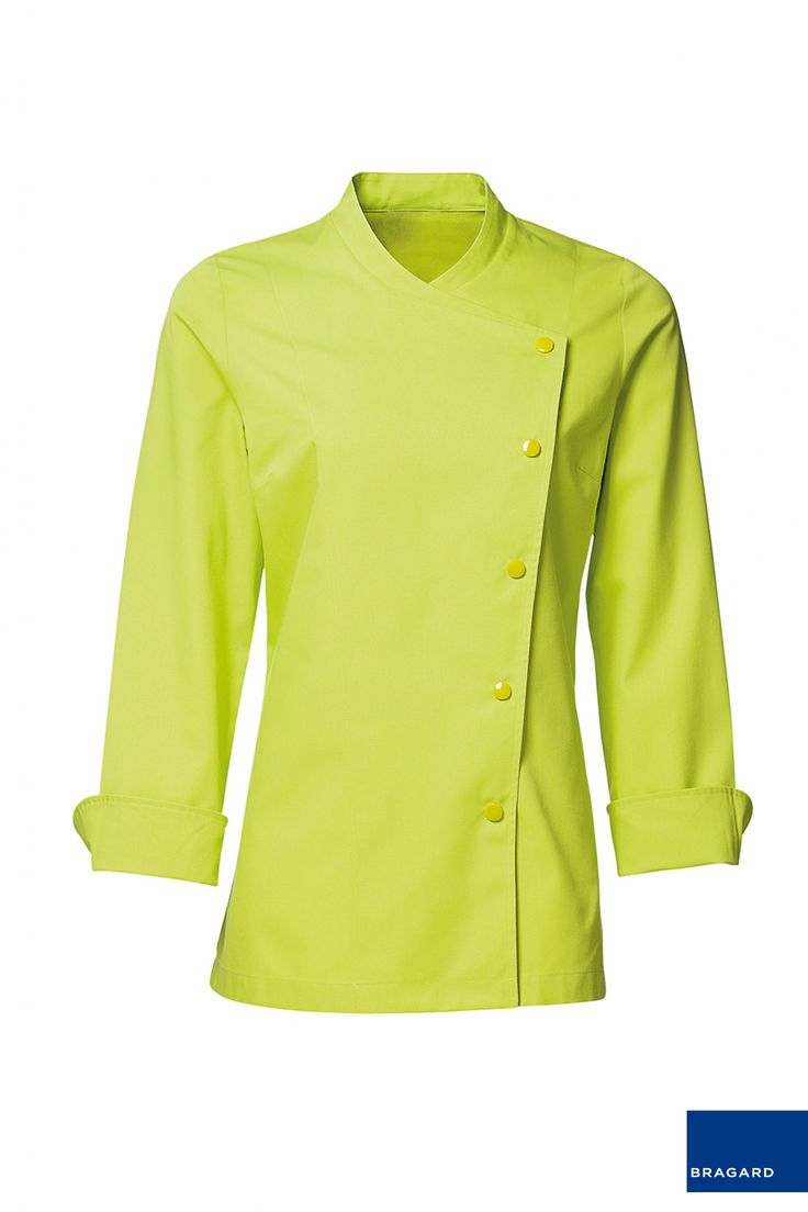 JULIA CHAQUETILLA DE COCINA MUJER GRANNY Chaquetilla de cocina de señora, cierre con automáticos, mangas largas, ventilación en axilas, Largo 72cm 65% poliéster, 35% algodón Granny/verde manzana