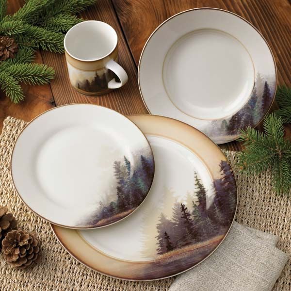 """Savor the inviting tranquility of artist Bob Metropulos' """"Misty Forest"""" every time you sit down to dine! Porcelain ceramic dinnerware is a welcome retreat for your table in deep forest green, browns a"""