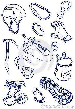 mountain climbing  doodle style illustration stock vector
