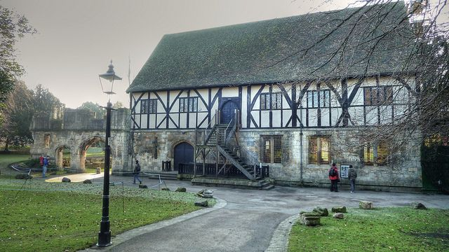 The 14th century Hospitium, in York's Museum Gardens, is one of the oldest surviving half-timbered buildings in York. It was originally a guest house for St. Mary's Abbey.
