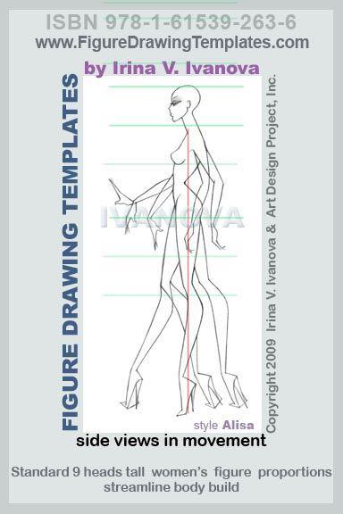 Рисунок Рисунок шаблон предназначен для рисования женского тела в движении от сбоку этой женской.  Этот шаблон содержит несколько позиций ног, рук и кистей рук, так что можно было бы использовать для рисования нескольких позах с различными движениями тела.