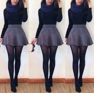 ☾@moonshineeeeee  Fashion. Fall/Winter. Long sleeve, skater skirt, stockings a…