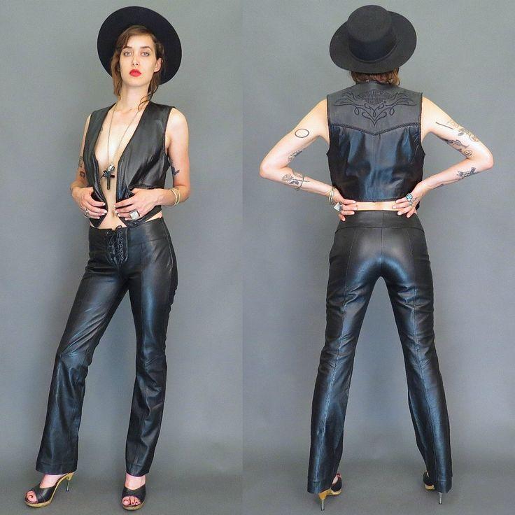 vintage 80s black lace up leather motorcycle pants // bell bottoms // biker pants // boho by gypsiesrisingvintage on Etsy https://www.etsy.com/listing/263828198/vintage-80s-black-lace-up-leather
