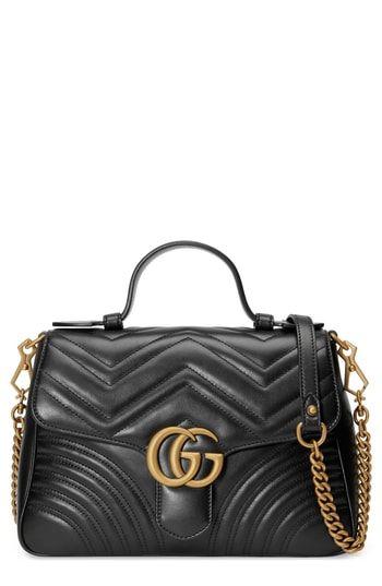 824ae6b01e21 Gucci Small Gg Marmont 2.0 Matelasse Leather Top Handle Bag - Black ...