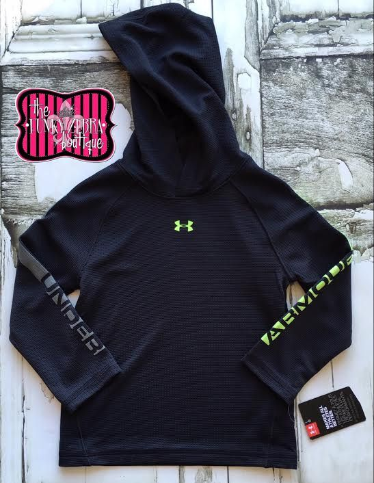 Under Armour Boys Black L/S Hooded Top Size 2T-7
