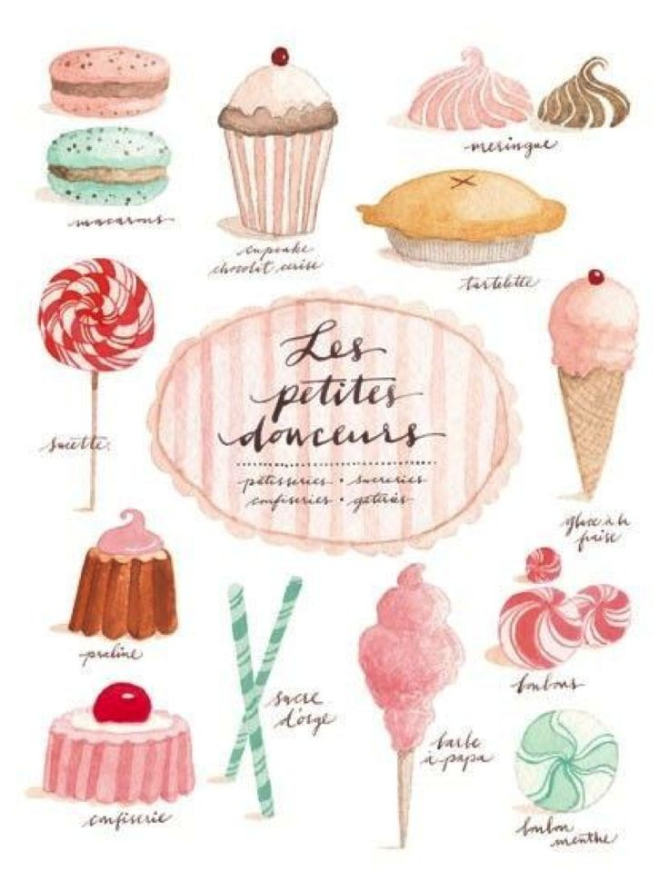 BAKERY ILLUSTRATION WATERCOLOUR GIRLY ICECREAM CUPCAKE PIE SWEET FOOD SWEETS SCALLOPE MACAROON FRENCH LES PETITES DOUCEUR EVA JULIET BOOK SCRIPT PAINT CANDY BAKING HAND WRITTEN HANDWRITING SCRIPT