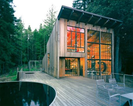Architect Olle Lundberg's cabin complete with livestock water tank pool- view one
