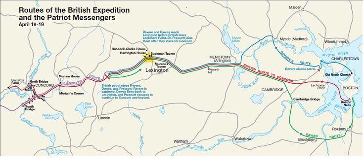 Paul Revere's ride, map