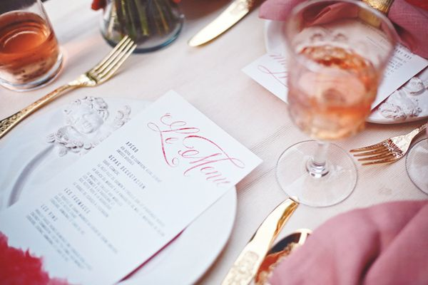 Menu design by Paperwhites (paperwhites-invitations.com). Whimsical elopement inspiration in Paris - photo by Olga Thomas of Chic Wedding Day http://ruffledblog.com/whimsical-elopement-inspiration-in-paris