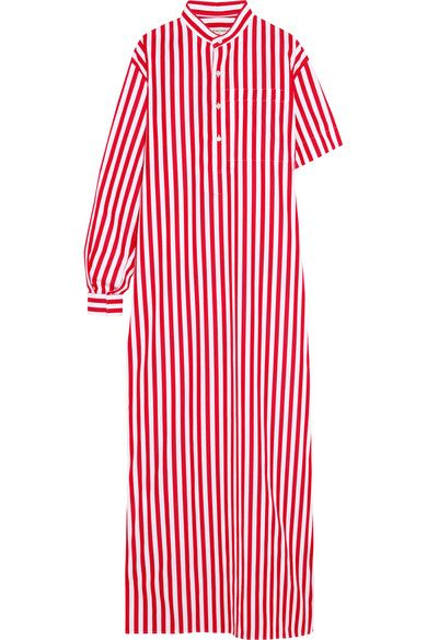 Balenciaga - Striped Cotton-poplin Maxi Dress - Red - FR40
