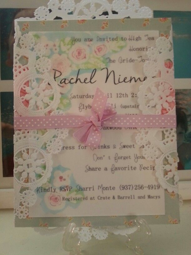 My niece's bridal shower invitations made by me.
