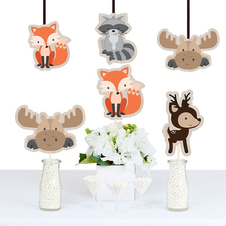 Woodland Creatures - Animal Shaped Decorations - DIY Baby Shower or Birthday Party Essentials - Set of 20 | BigDotOfHappiness.com