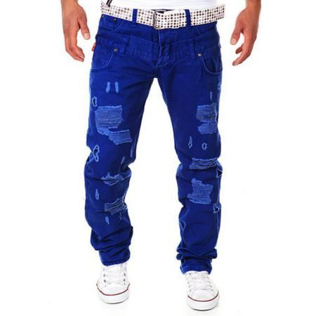 Great Double Waist Straight Leg Distressed Cargo Pants