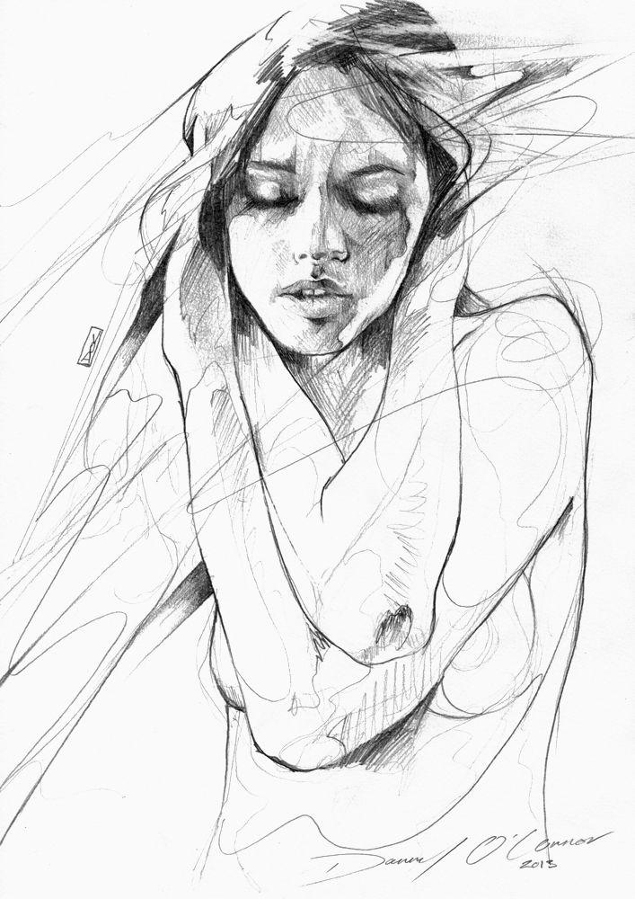 Artist: Danny O'Connor, pencil 2013 {figurative female face and torso b+w drawing}