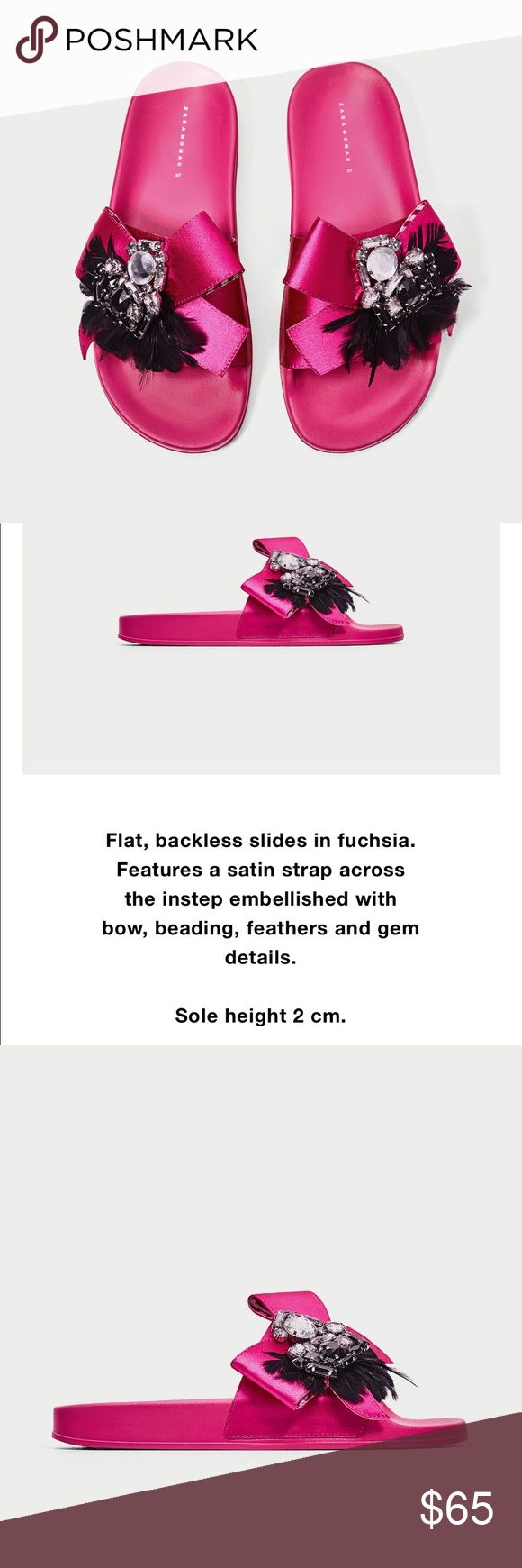 Zara hot pink slides flip-flop sandals. New! Hot pink satin slides with feather and gem details. Brand new with dust bag! Zara Shoes Sandals