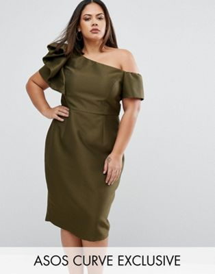 ASOS CURVE Occasion Structured One Shoulder Dress With Bow Detail
