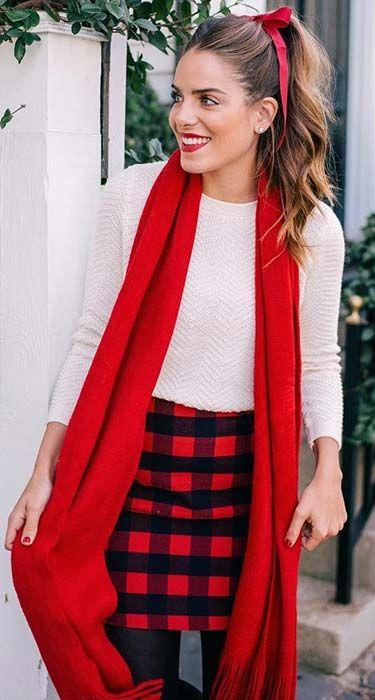 Cute Plaid Skirt for Christmas - 39 Cute Christmas Outfit Ideas My Style Cute Christmas Outfits