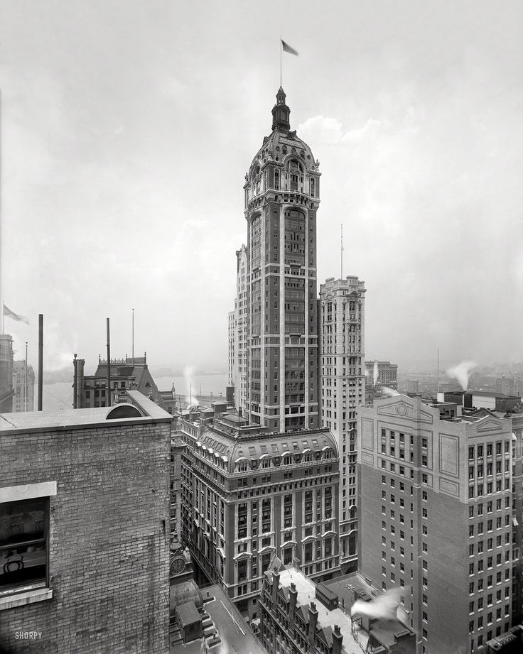 "New York circa 1908. ""The Singer Building."" Shortly after its completion. 8x10 inch glass negative, Detroit Publishing Company.   Shorpy Historical Photo Archive :: New York Giant: 1908"