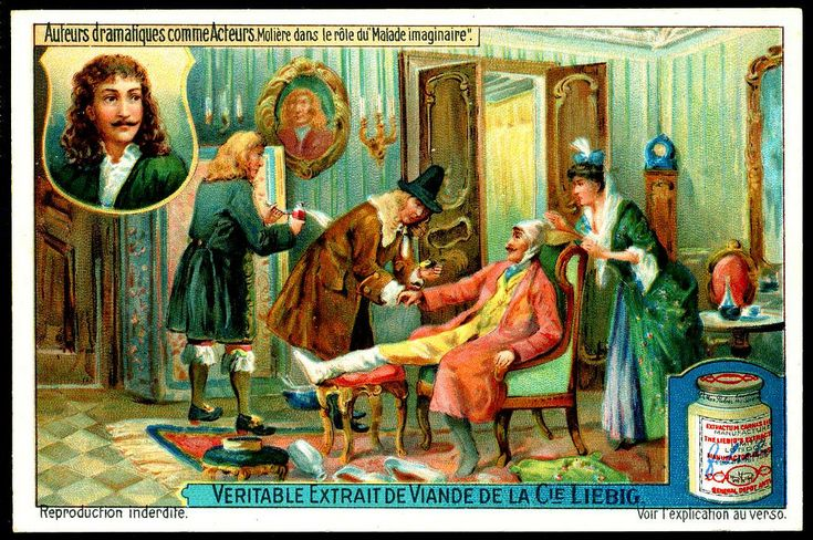 "Molière - Le Malade imaginaire | Liebig S1111 Famous Actor Playwrights - Moliere | Liebig Beef Extract ""Famous Actor-Playwrights"" Belgian issue, 1921"