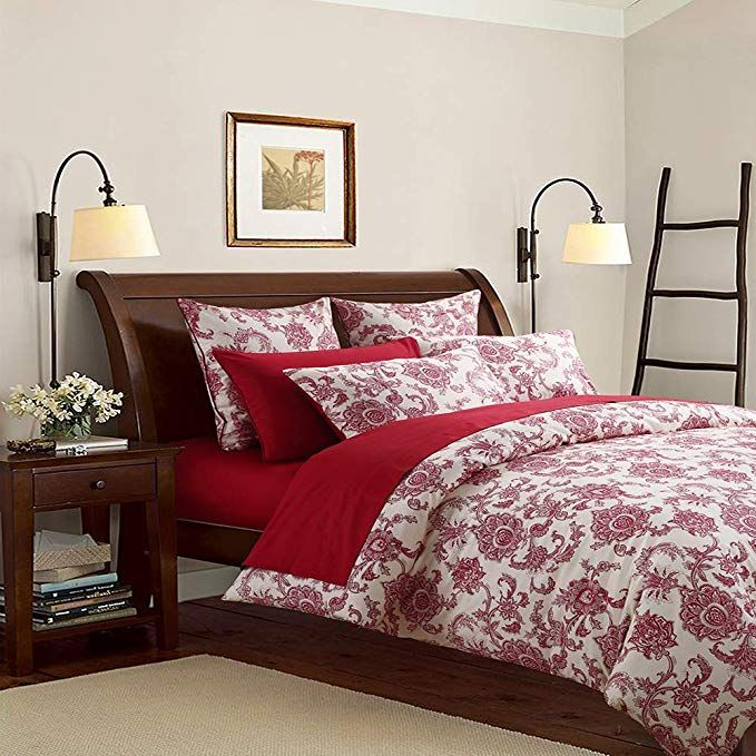 Softta Luxury Red Flower Pattern On White Fresh Floral Bedding Beddingsets Masterbedding Beautifulbedding Duvet Cover Sets Bedding Sets Rustic Bedding Sets