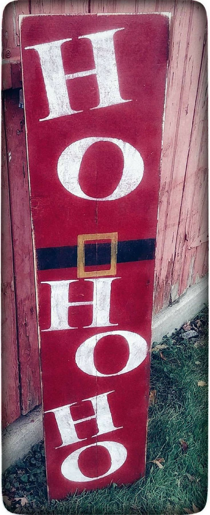 Rustic Santa sign! Wood Ho Ho Ho Sign for Porch | Rustic Christmas Sign | Santa Welcome Sign | Welcome porch Sign | Farmhouse Christmas Décor| Christmas porch sign, Christmas decor #ad