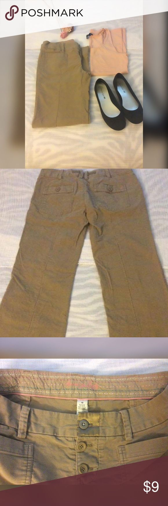 AE khaki corduroy pants These are in good used condition and very comfy! Let me just point out the minor fraying in last photo as well as top button was replaced with slightly diff button. American Eagle Outfitters Pants Trousers