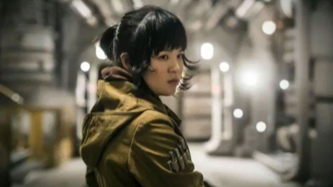 Star Wars: The Last Jedi (December 15, 2017) a sci-fi film directed by Rian Johnson, George Lucas, J.J. Abrams. Produced by Kathleen Kennedy, Gwendoline Christie, Cinty Serkes. A new actress Kelly Marie Tran plays the role of Rose, who is part of the Resistance, and works in maintenance. She is not a soldier, she is part of the adventure in the movie with Finn.