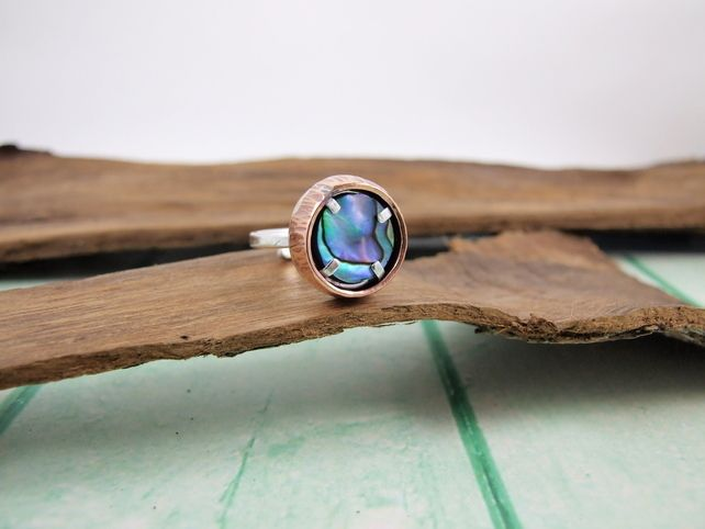 PINK /& BLUE COLOR   ADJUSTABLE PAUA  REAL SEA SHELL RING  MULTI  COLOR  BLUE