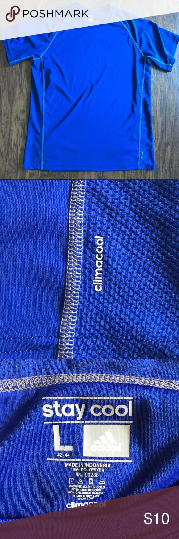 Adidas Royal Blue Climacool Short Sleeve Shirt Adidas workout climacool shirt in royal blue. Very light and perfect for exercising. Only worn once, so it is like new adidas Shirts Tees - Short Sleeve