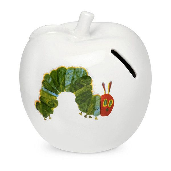 The Very Hungry Caterpillar Apple Money Box ($17) ❤ liked on Polyvore featuring home, home decor, small item storage, book shelf, key bank, apple home decor, porcelain piggy bank and book shelves