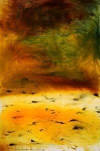 Colin McCahon A poem of Kaipara Flat  '71 (pencil, b.l.-b.c.) | watercolour on paper 1120 x 682 mm