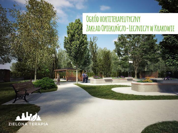 Ogród terapeutyczno-sensoryczny Zakładu Opiekuńczo Leczniczego w Krakowie przy ul. Wielickiej, będzie przeznaczony do użytkowania przez pacjentów a także pracowników Zakładu oraz osób odwiedzających pacjentów.   http://ZielonaTerapia.pl/portfolio/ogrod-hortiterapeutyczny-zaklad-opiekunczo-leczniczy-w-krakowie/