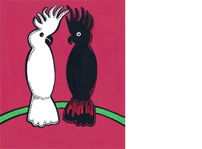 'Cockatoos' - signed limited edition print by Bronwyn Bancroft, from her picture book 'Possum and Wattle'. Available from Books Illustrated. http://www.booksillustrated.com.au/bi_prints_indiv.php?id=38&image_id=132