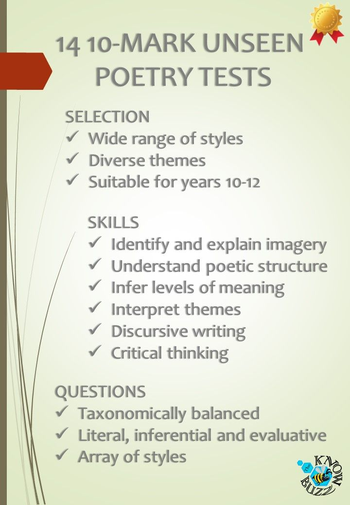 14 Short Unseen Poetry Tests For The High School Poetry High